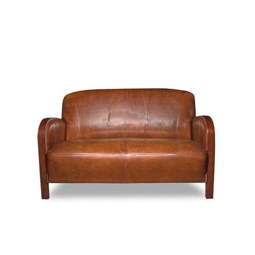 Sofa / Art Deco / Leder / aus Eiche / Contract