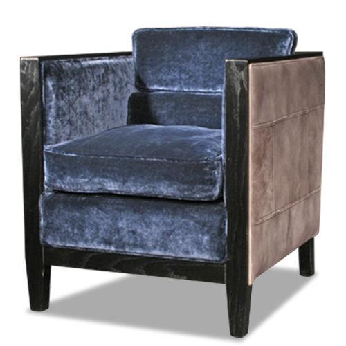 Sessel / Art Deco / Stoff / Rindleder genarbt / Holz