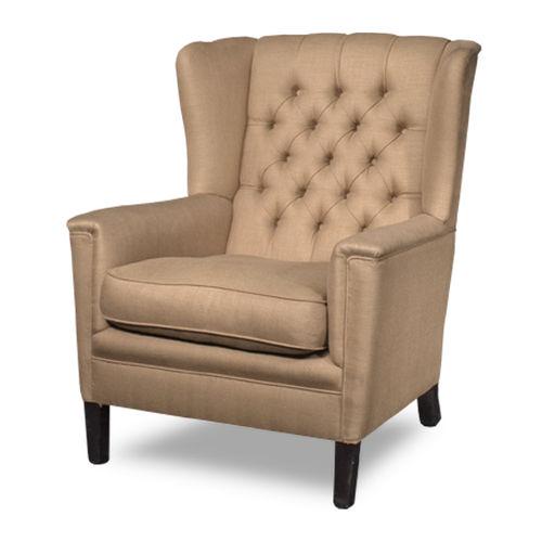 Chesterfield-Sessel / Leder / Ohren / mit hoher Rückenlehne