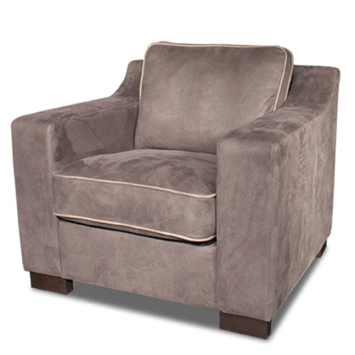 klassischer Sessel / Leder / mit abnehmbarem Kissen / grau