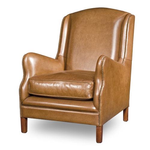 klassischer Sessel / Leder / Ohren / mit hoher Rückenlehne
