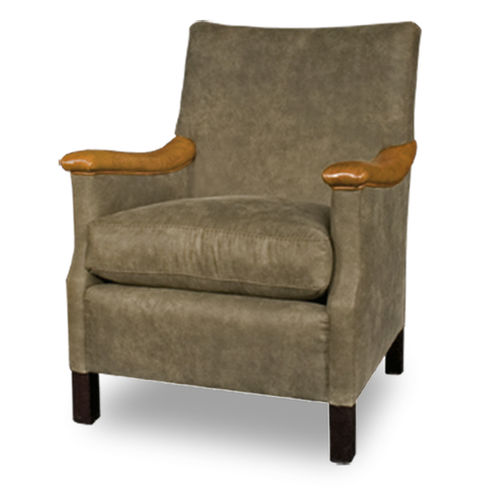 klassischer Sessel / Leder / mit hoher Rückenlehne / mit abnehmbarem Kissen