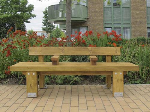 Parkbank / klassisch / Holz / verzinkter Stahl