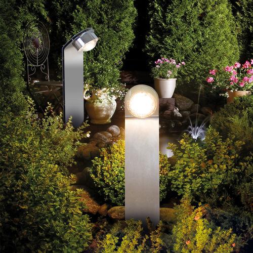Garten-Leuchtpoller / modern / polierter Edelstahl / LED