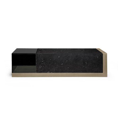moderner Couchtisch / Glas / Marmor / mit Fußgestell aus Metall