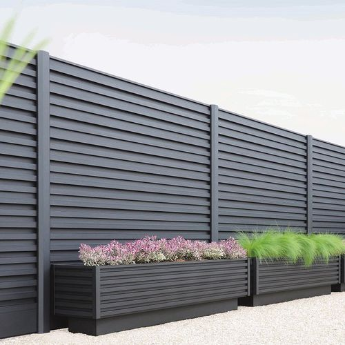 Gartenzaun / Platten / Aluminium / verstärkt gesichert