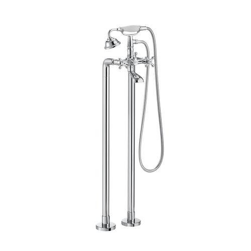 Mischbatterie für Badewanne / freistehend / verchromtes Metall / für Badezimmer