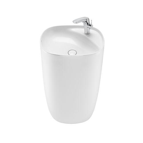 Totem-Waschbecken / Porzellan / modern / Mischbatterie