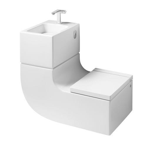 hängendes WC / Porzellan / all-in-one-System mit Handwaschbecken