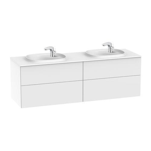 doppelter Waschtisch-Unterschrank / hängend / Spanplatte / modern