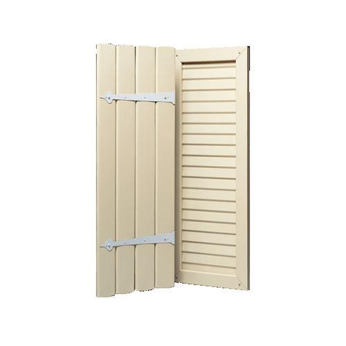 einflügeliger Fensterladen / Aluminium / mit Jalousie / Holzoptik