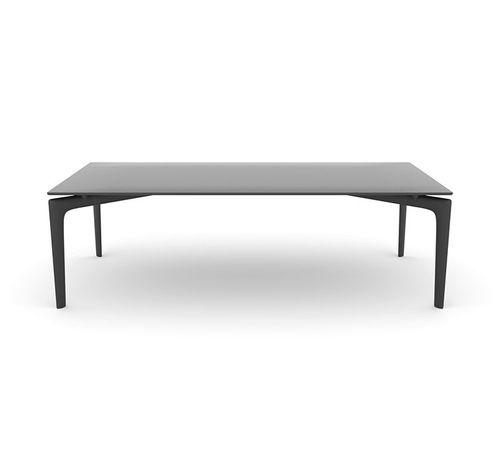 moderner Couchtisch / Rauchglas / Aluminium / rechteckig