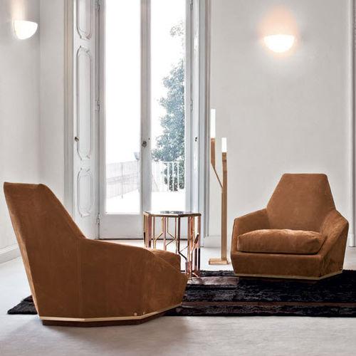 moderner Sessel / Stoff / Leder