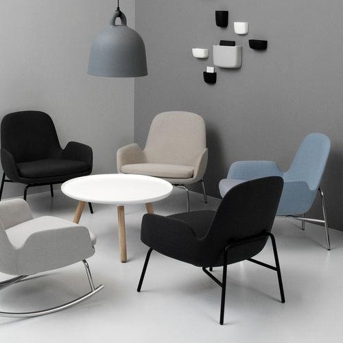 moderner Sessel / Stoff / Leder / aus Eiche