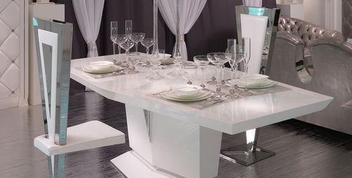 moderner Tisch / lackiertes Glas / weiß