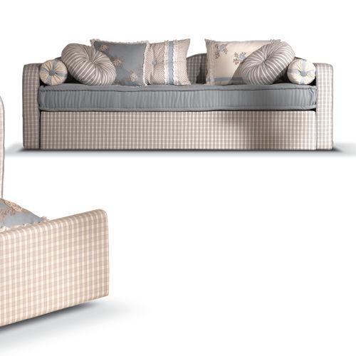 klassisches Sofa / Stoff / mit ausziehbarem Bett / mehrfarbig