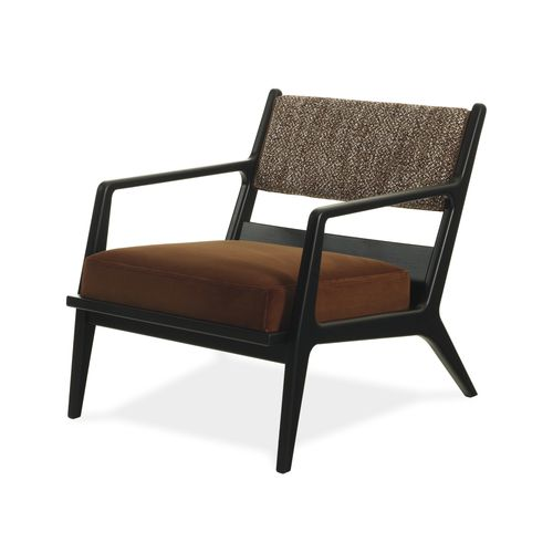 moderner Sessel / Stoff / Massivholz / aus Esche