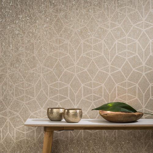 moderne Tapete / Vlies / mit geometrischem Muster / gold