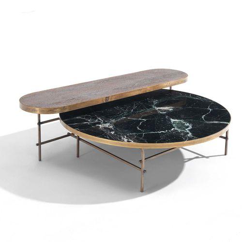 moderner Couchtisch / Holz / Metall / Marmor