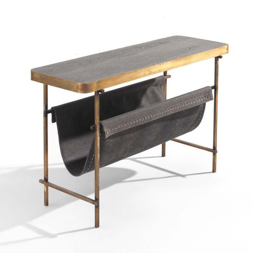 moderner Konsolentisch / Holz / Metall / Leder