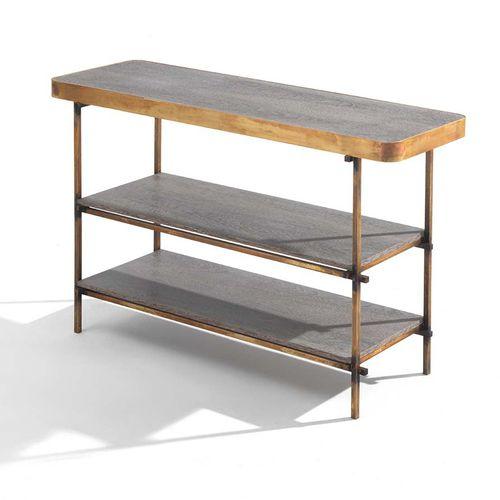 modernes Regal / Holz / Metall / Marmor