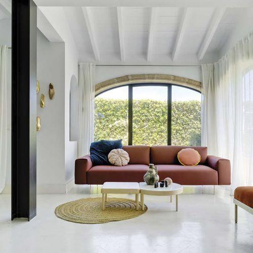 moderner Couchtisch / Holz / Marmor / quadratisch