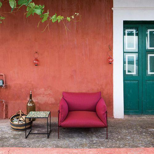moderner Sessel / Stoff / aus Polyesterfasern / Garten
