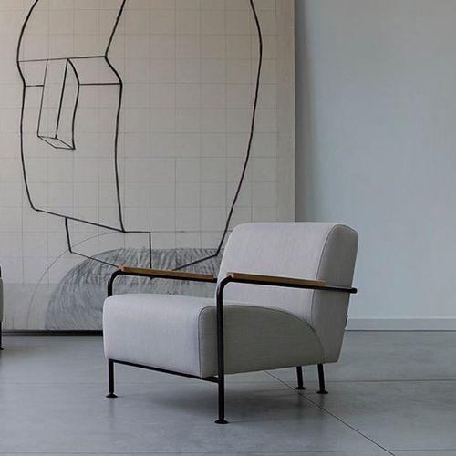 moderner Sessel / Stoff / aus Eiche / Stahl