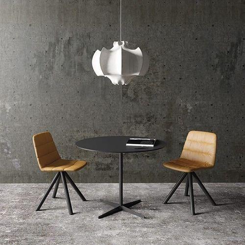 moderner Tisch / Aluminium / mit Fußgestell aus Aluminium / rund
