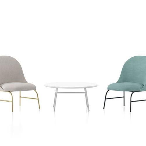moderner Couchtisch / Stahl / Polyester / rund
