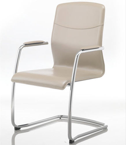moderner Besucherstuhl / mit Armlehnen / Polster / mit Überhang