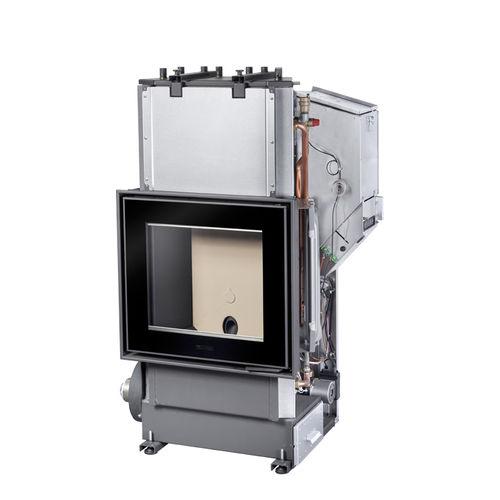 Geschlossene Feuerstelle / Pellets / 1 Sichtseite / Stahl / für wasserführende Kamine