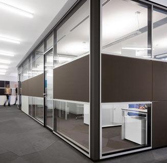 abnehmbare Trennwand / verglast / Doppelverglasung / zur beruflichen Nutzung
