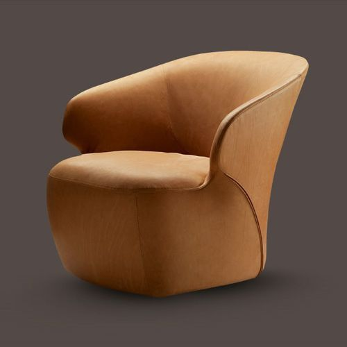 moderner Sessel / Stoff / Leder / Kuhfell