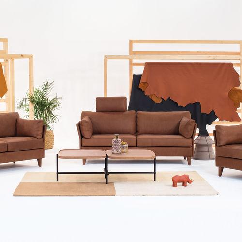 klassisches Sofa / Stoff / Leder / 2 Plätze