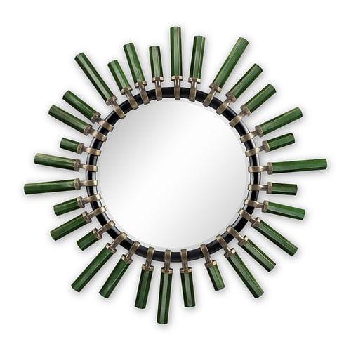 wandmontierter Spiegel / klassisch / rund / aus Laubholz