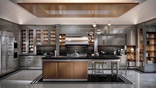 moderne Küche / Holz / Kochinsel / mit Griffen