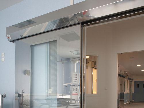 Schiebe-Industrietor / Edelstahl / automatisch / halbverglast
