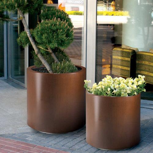 Metall-Pflanzkübel / rund / modern / für öffentliche Bereiche