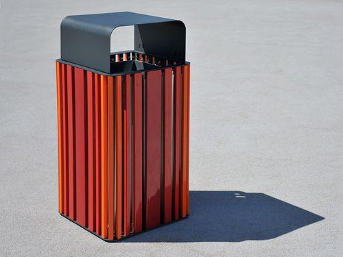 Park-Abfallbehälter / Edelstahl / Holz / modern