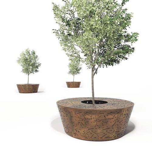 Baumschutz / verzinkter Stahl / COR-TEN®-Stahl / mit integrierter öffentlicher Bank