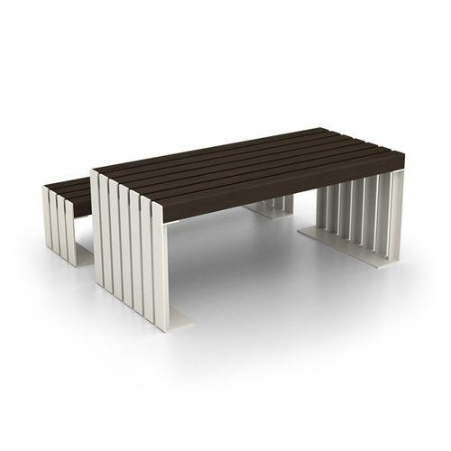 moderner Tisch / Stahl / mit Fußgestell aus galvanisiertem Stahl / rechteckig