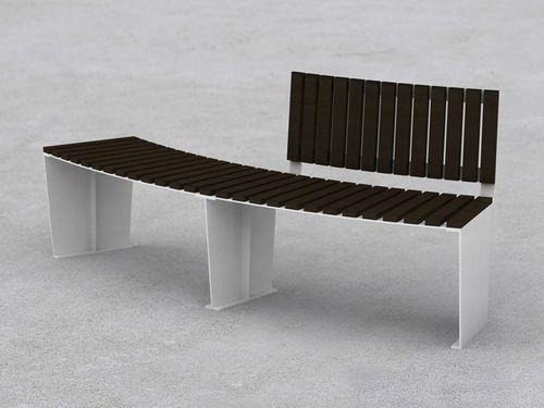 Parkbank / modern / Holz / Stahl