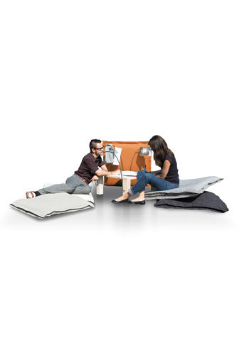 moderner Sessel / Baumwolle / Holz