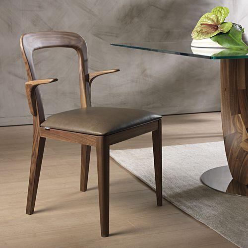 moderner Stuhl / mit Armlehnen / Polster / Stoff
