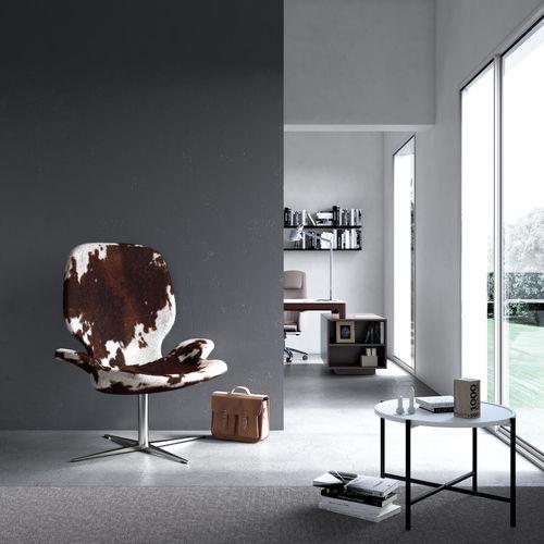 moderner Besuchersessel / Stoff / Leder / Metall