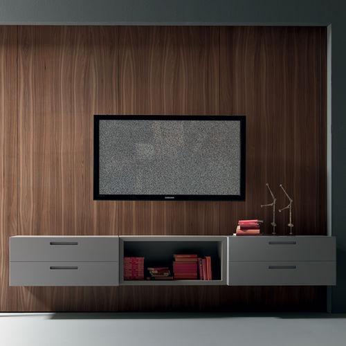 moderne Wohnwand / aus Nussbaum / Modul / lowboard