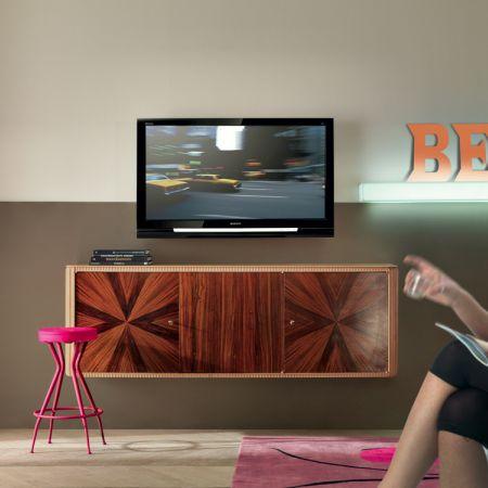 wandmontiertes Sideboard / modern / Holzfurnier / aus Rosenholz