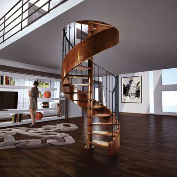 viertelgewendelte Treppe / Wendel / halbgewendelt / Holzrahmen