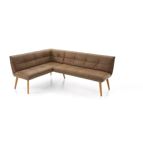 moderne Polsterbank / Leder / Holz / mit Rückenlehne